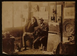 Arthur Wesley Dow(R) and Henry Kenyon, in Dow's studio in Ipswich, Mass.